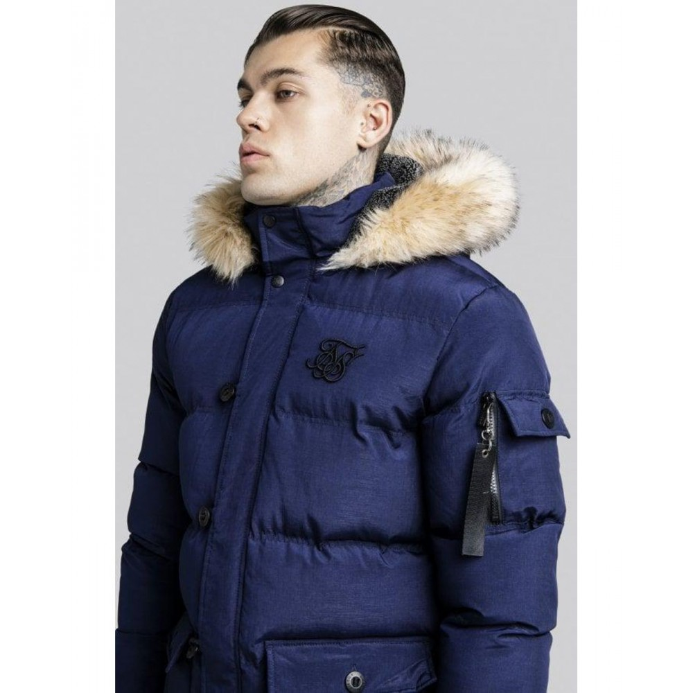 Siksilk Puff Parka Jacket - Navy
