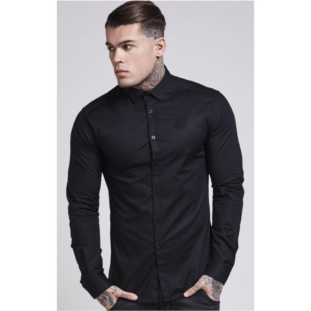 SikSilk Cotton Stretch Shirt - Black