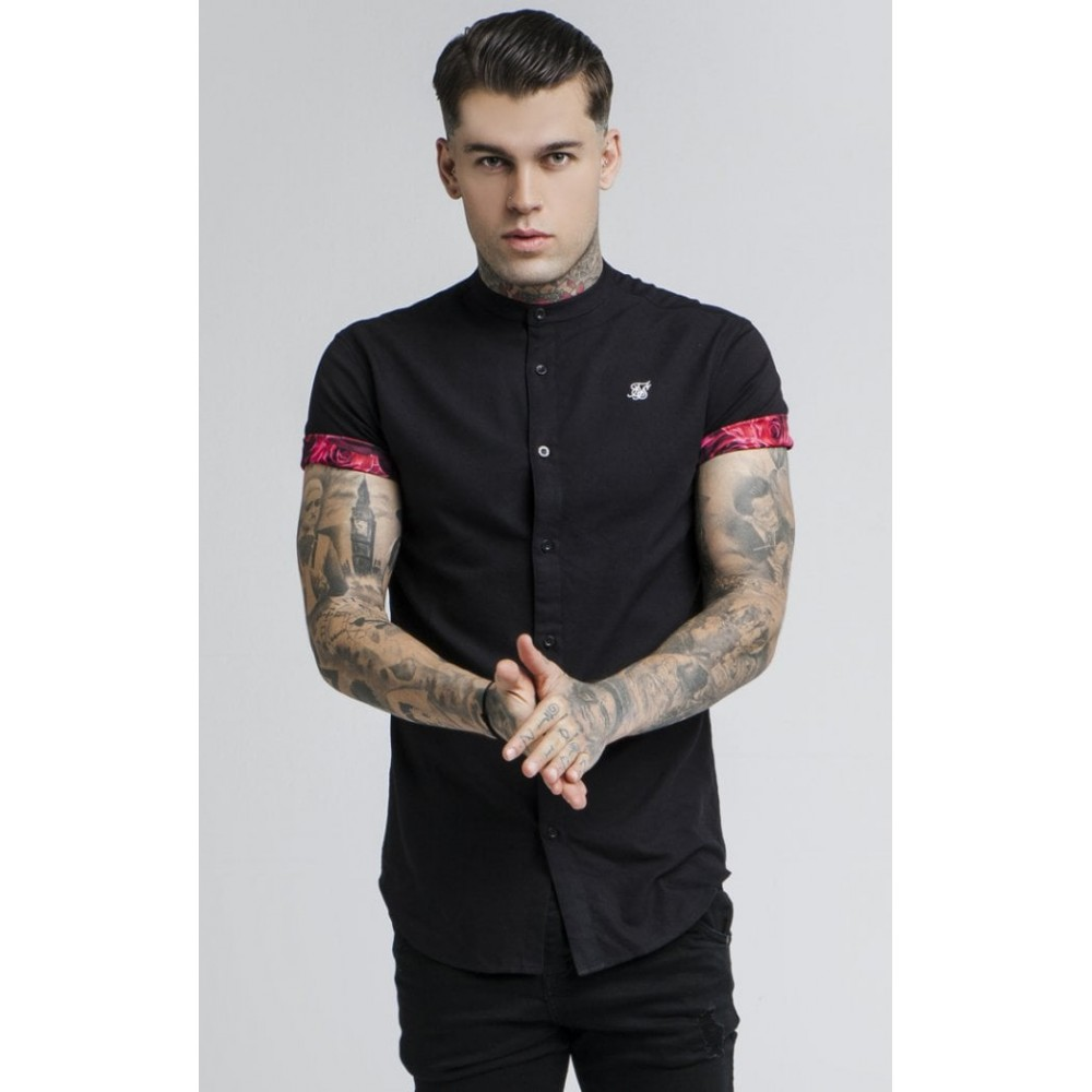 SikSilk Grandad Collar Roll Sleeve Shirt – Black