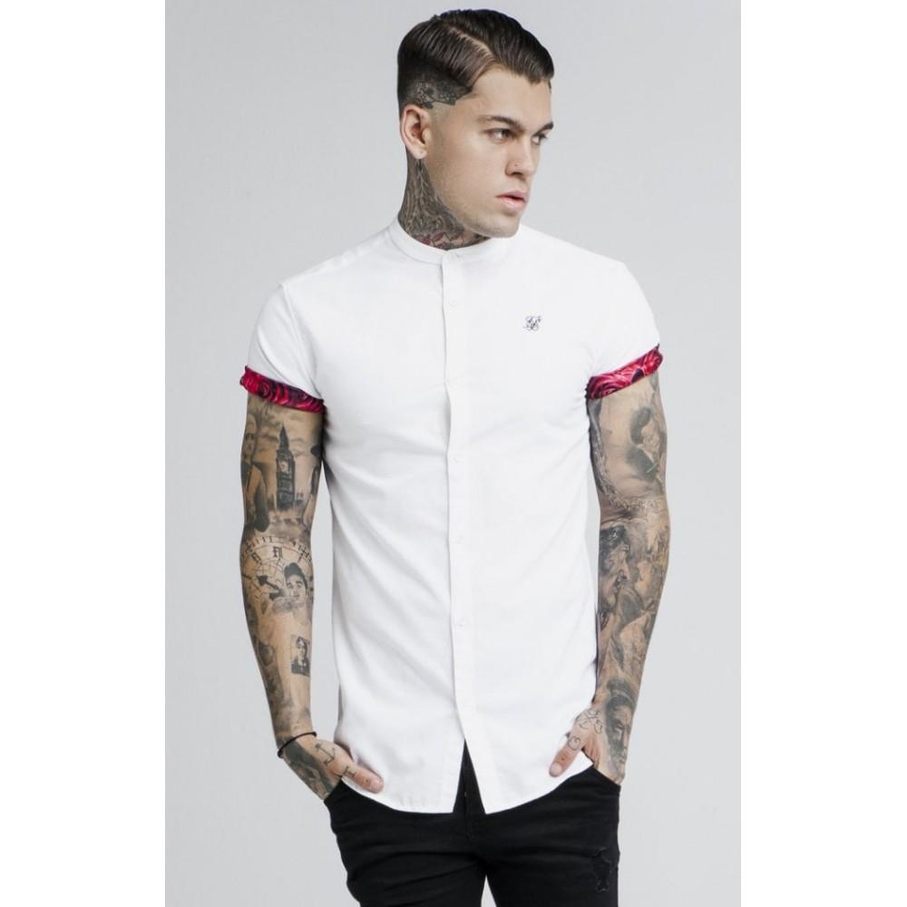 SikSilk Grandad Collar Roll Sleeve Shirt – White
