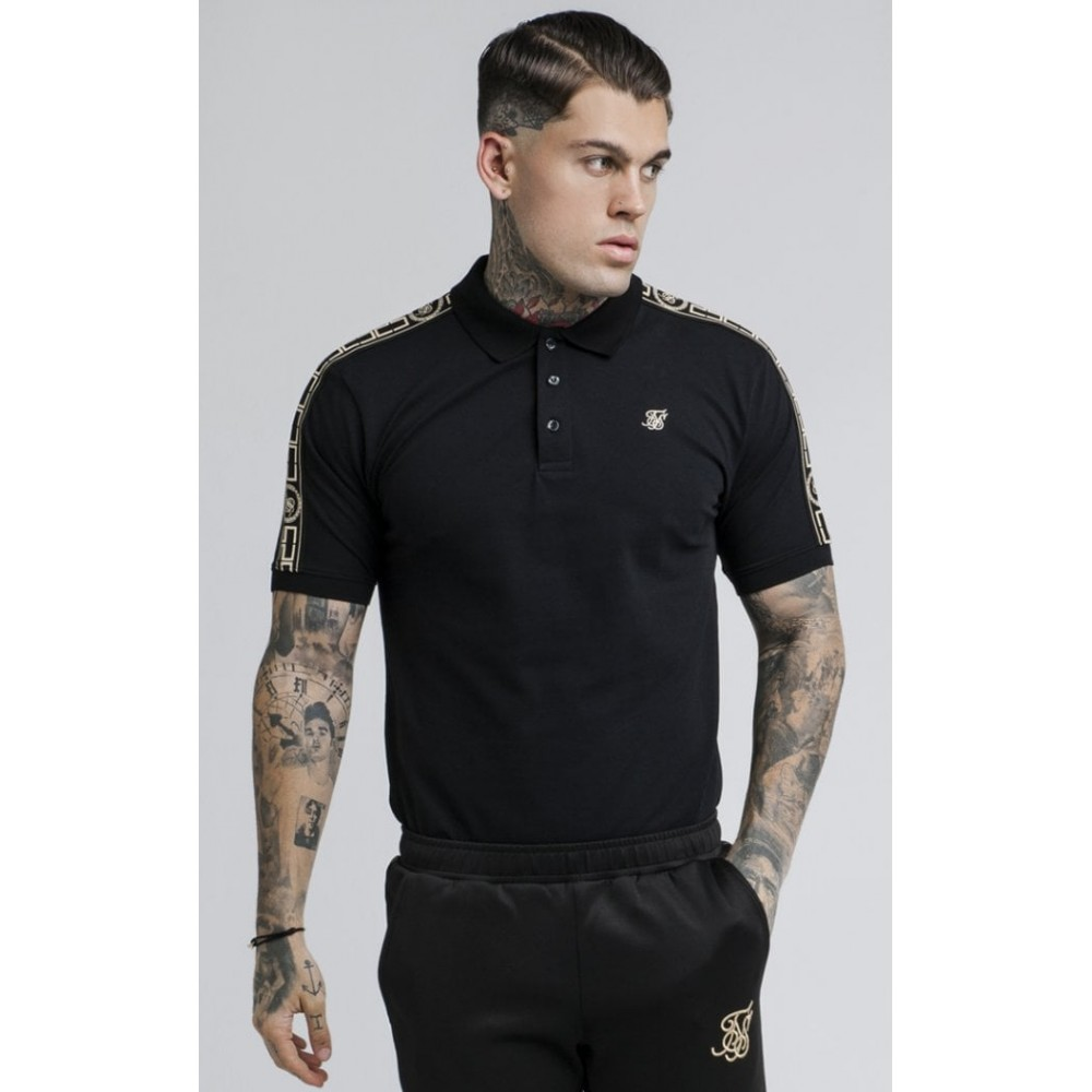 SikSilk S/S Cartel Grandad Collar Shirt - Black & Gold