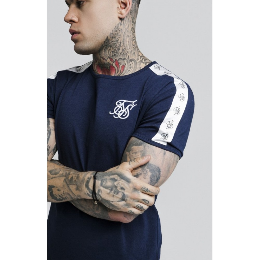 Siksilk Curved Hem Taped Gym Tee - Navy