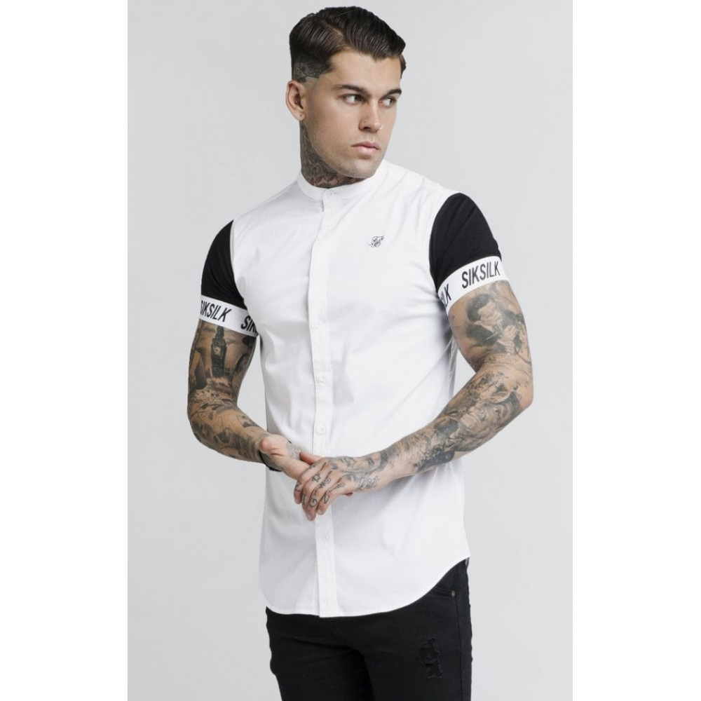 SikSilk S/S Grandad Collar Tech Shirt – White & Black