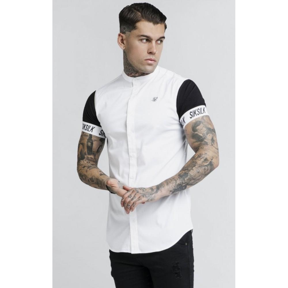 SikSilk S/S Grandad Collar Tech Shirt – White & Black