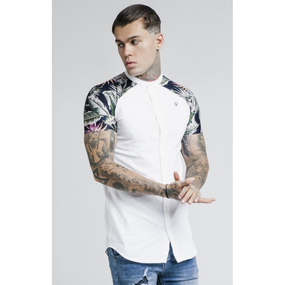 SikSilk S/S Jeremy Vine Raglan Grandad Collar Shirt - White