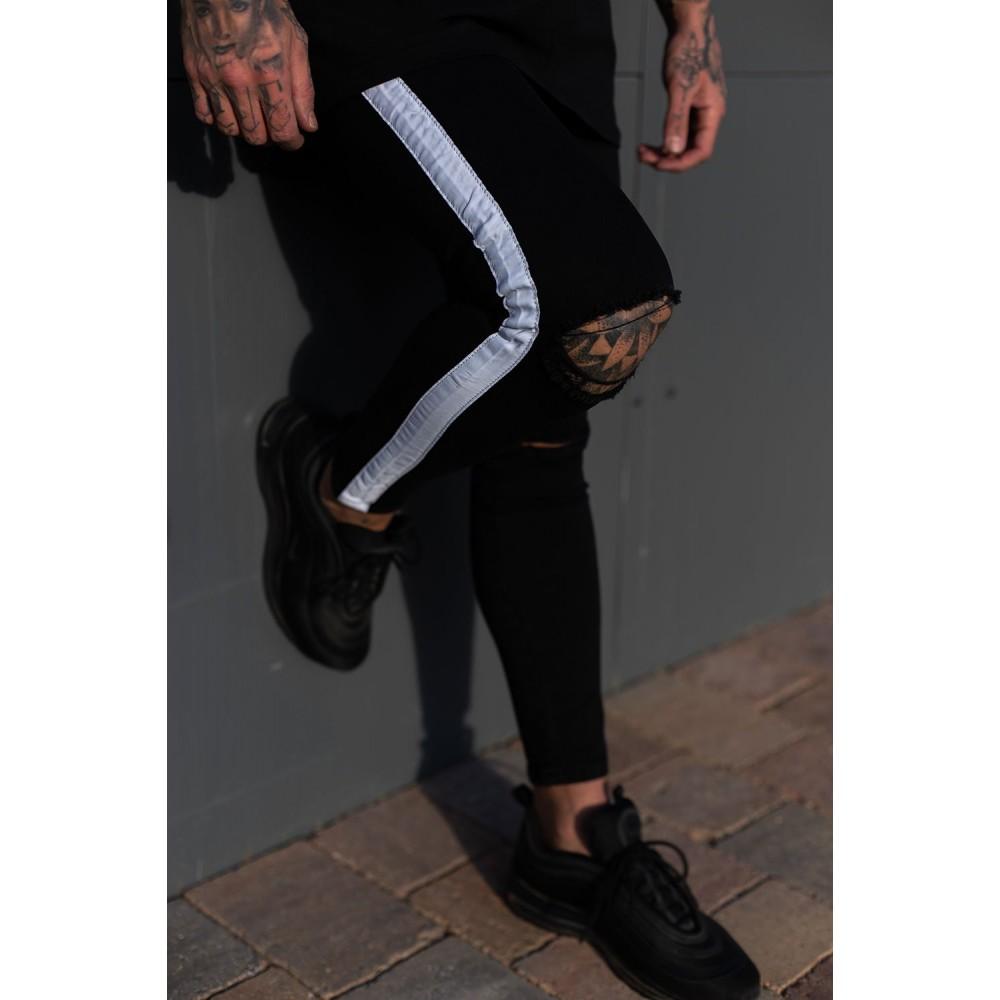 Sinners Attire Black Knee Rip Spray On Jeans