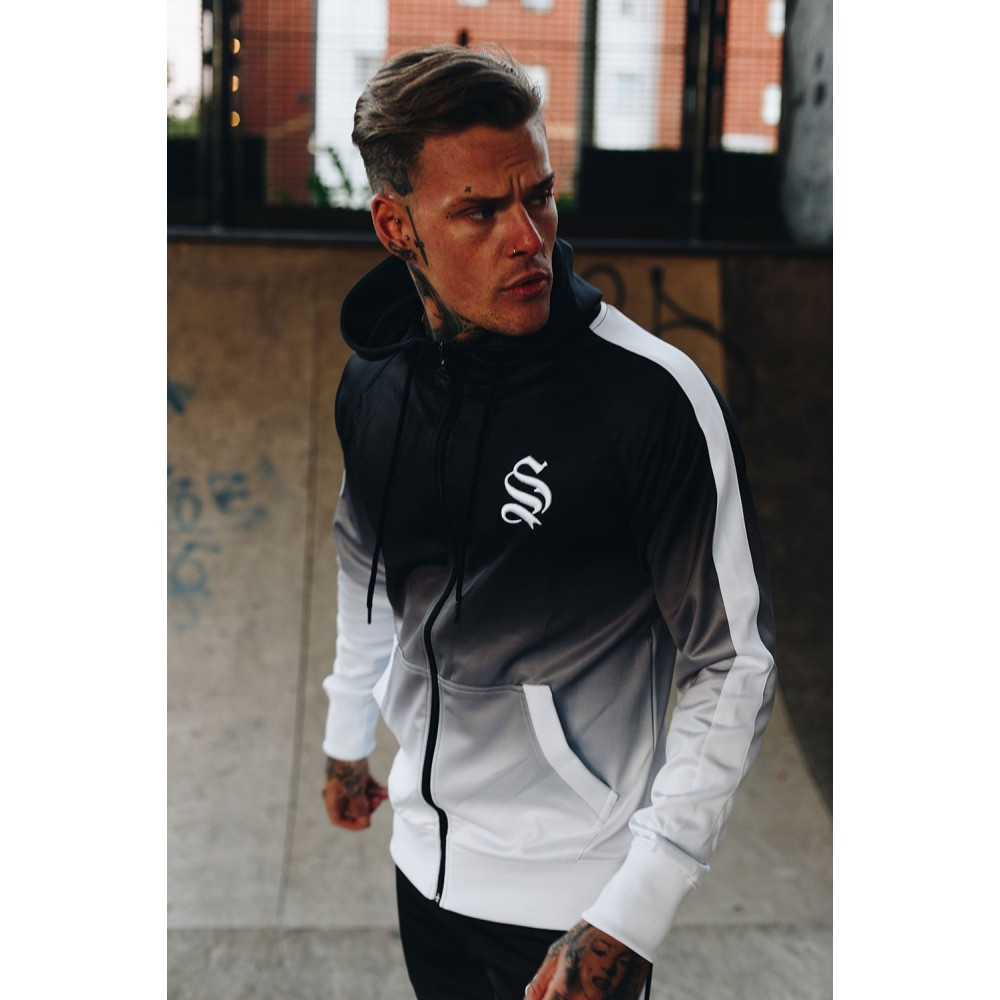 Sinners Attire Black/White Dip Dye Poly Track Hoodie