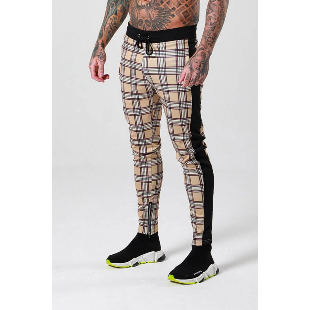 Sinners Attire Sand Heritage Check Track Cropped Joggers