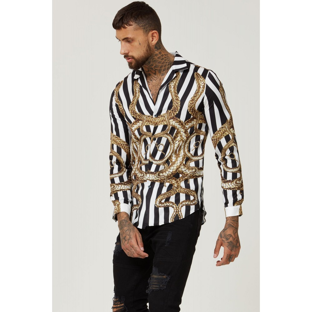 Hermano Snake Cuban Long Sleeve Shirt - Black