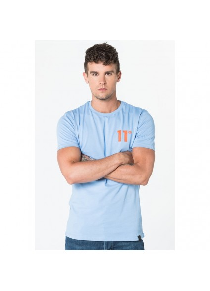 11 Degrees Coloured Logo Tee - Light Blue & Orange