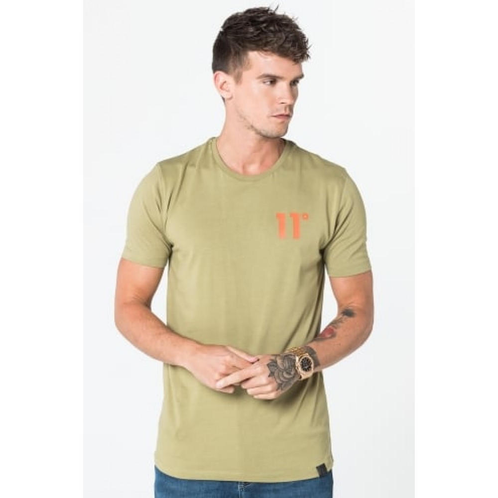 11 Degrees Coloured Logo Tee - Light Khaki & Orange