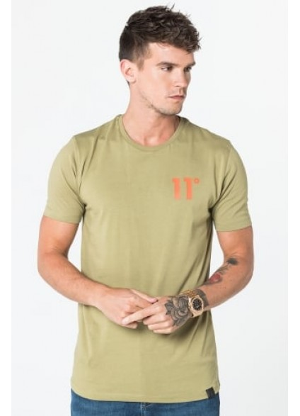 11 Degrees Coloured Logo Tee - Light Khaki & Orange