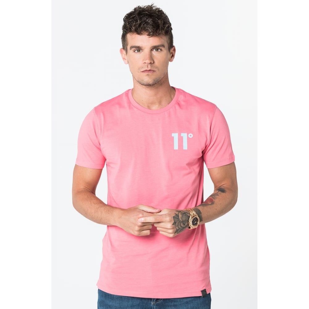 11 Degrees Coloured Logo Tee - Pink & Blue