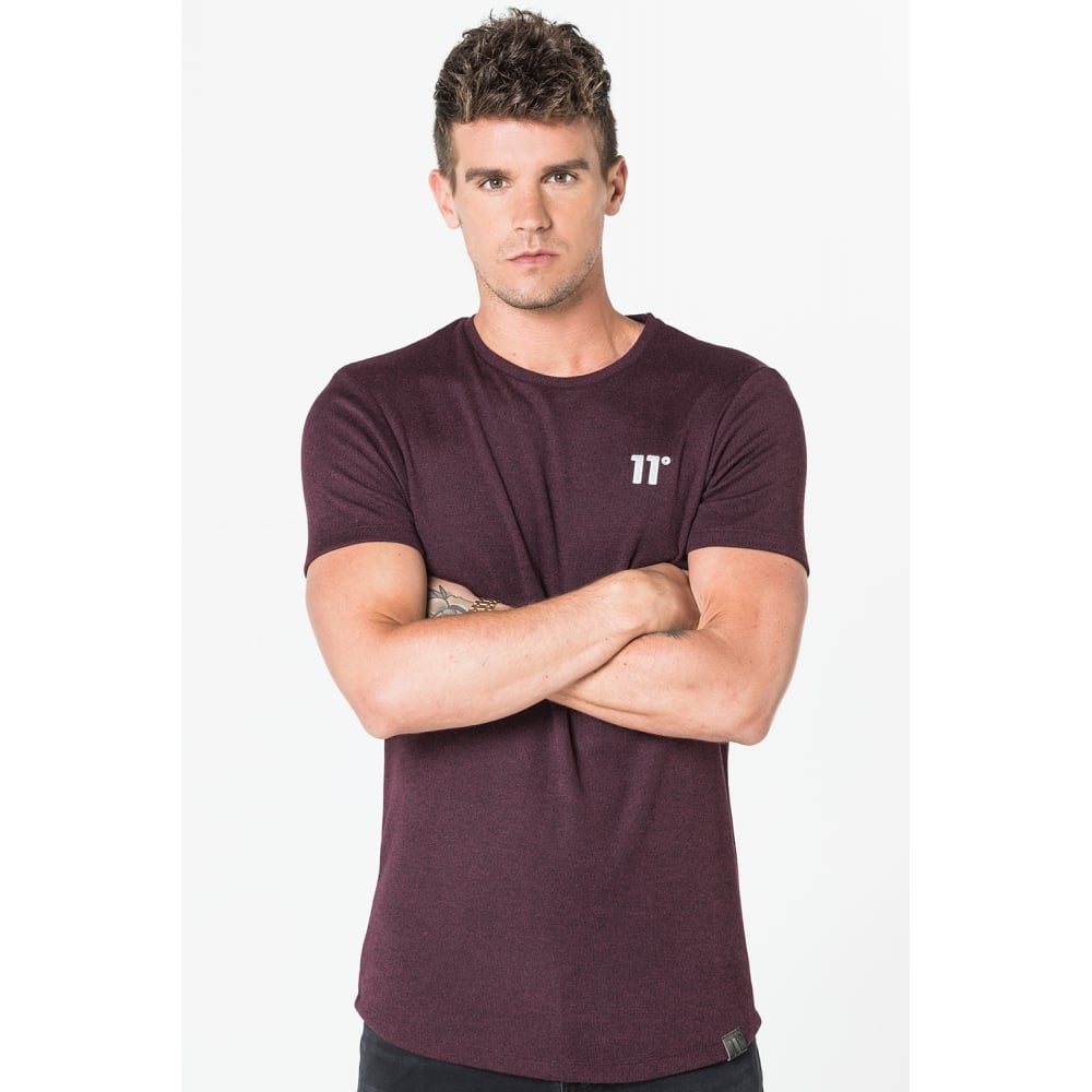 11 Degrees Composite Short Sleeve Top - Burgundy & Black Twist