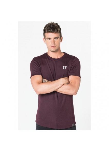 11 Degrees Composite Short Sleeve Top - Burgundy & Black Twist