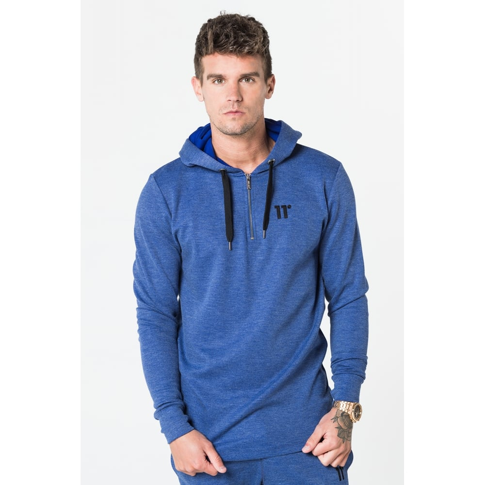 11 Degrees Composite Zipped Pull Over Hoodie - Blue Grain