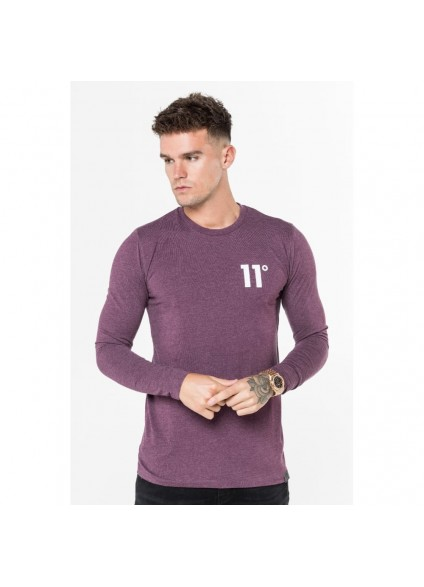 11 Degrees Core Long Sleeve T-Shirt - Aubergine Marl