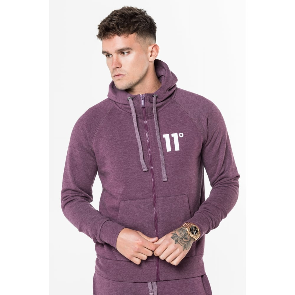 11 Degrees Core Zip Hoodie - Aubergine Marl