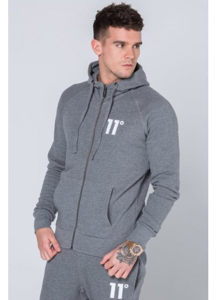 11 Degrees Core Zip up Hoodie - Charcoal