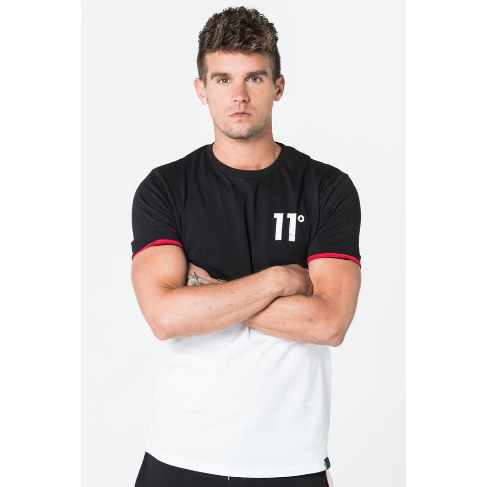 11 Degrees Curved Cut & Sew T-Shirt - Red Trim