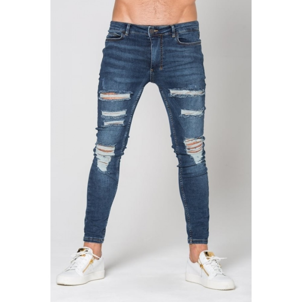 11 Degrees Destrukt Super Skinny Jeans - Indigo