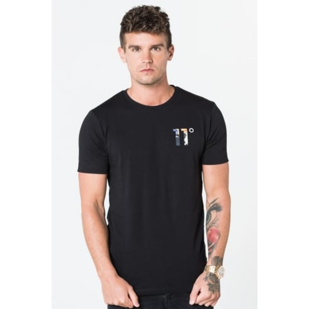 11 Degrees Logo T-Shirt - Dripping Floral Black
