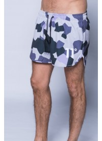 11 Degrees Printed Retro Swimshort - Lilac Camo