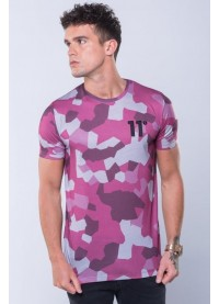 11 Degrees Sub Tee - Burgundy Geo Camo
