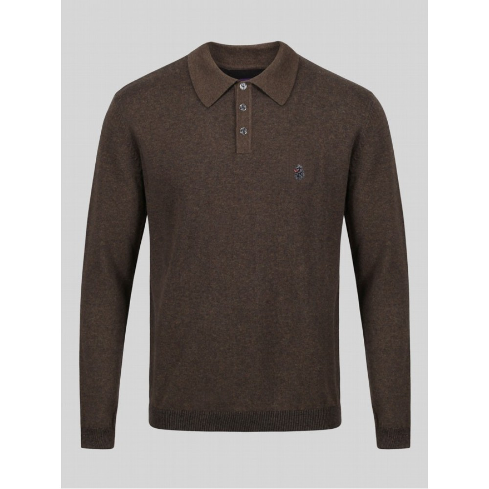 Luke 1977 Magnesium Knitted Long Sleeve Polo