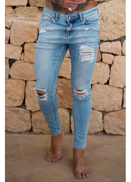 Sinners Attire Ripped & Repaired Jeans -Light Wash Blue
