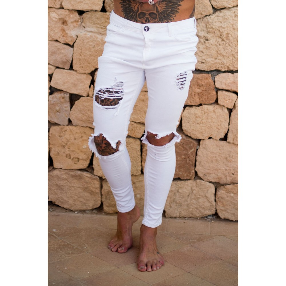 Sinners Attire White Destroyed Jeans