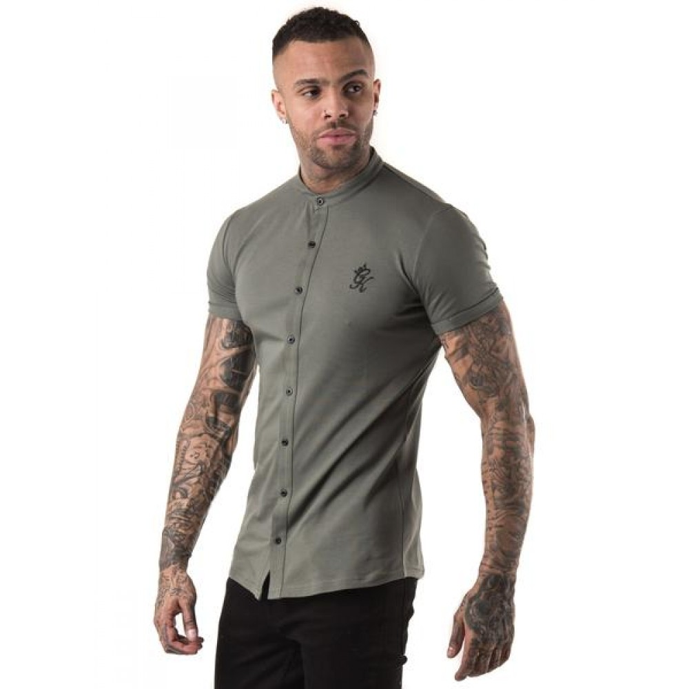 Gym King Shortsleeve Grandad Jersey Shirt - Castor Grey