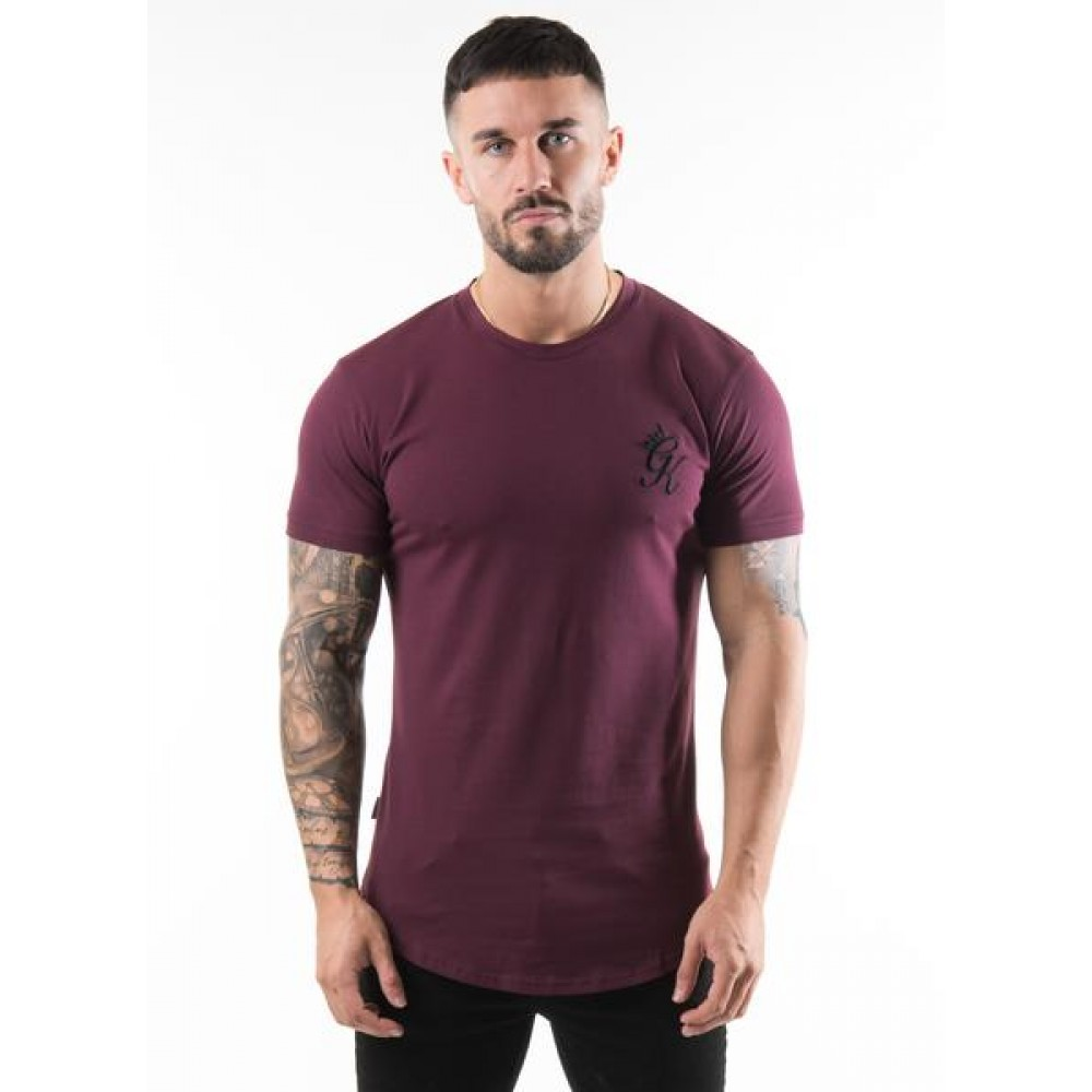 Gym King Fitted Long Line T-Shirt - Wine