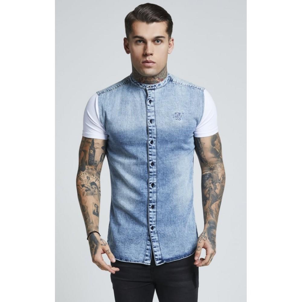 SikSilk Grandad Collar Washed Denim Shirt - Denim Blue & White