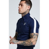 SikSilk S/S Stretch Fit Cotton Shirt – Navy & Cream