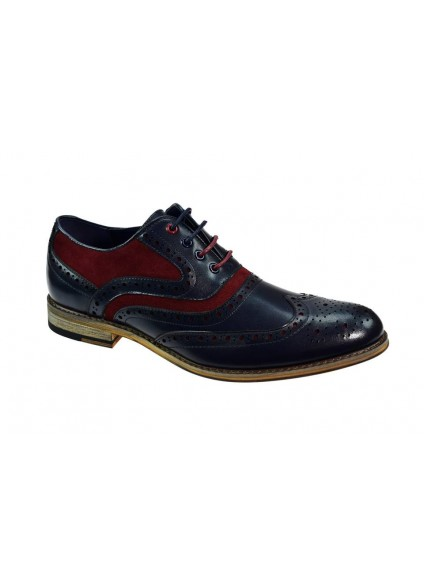 Cavani Ethan Navy / Burgundy Brogue Shoes