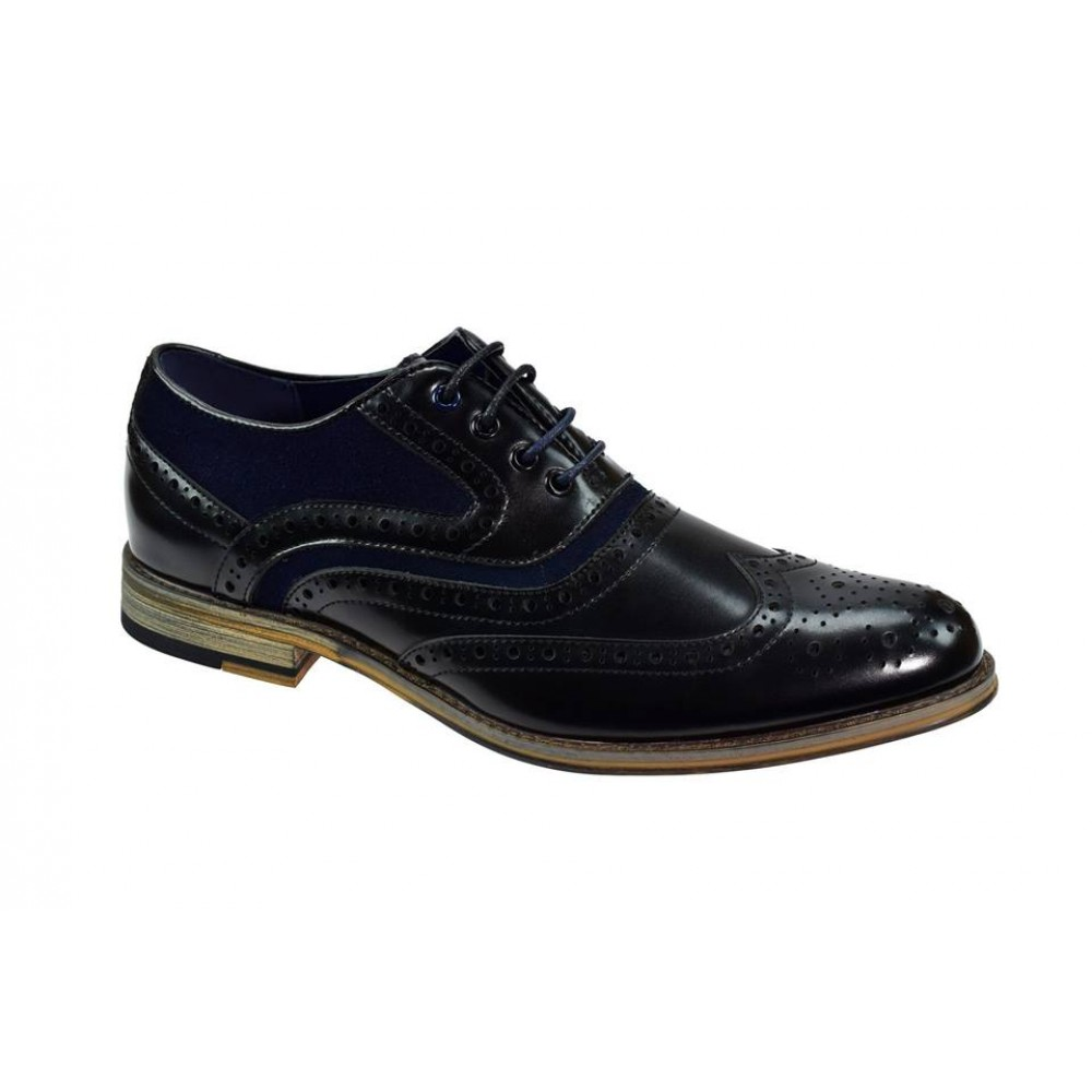 Cavani Ethan Black & Navy Brogue Shoes