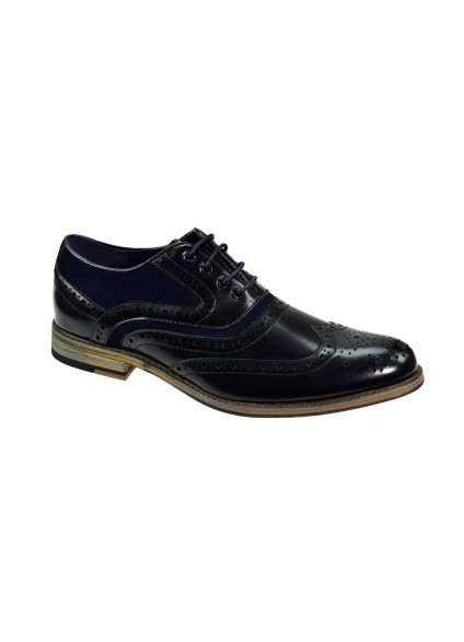 Cavani Ethan Black & Navy Brogue Shoes