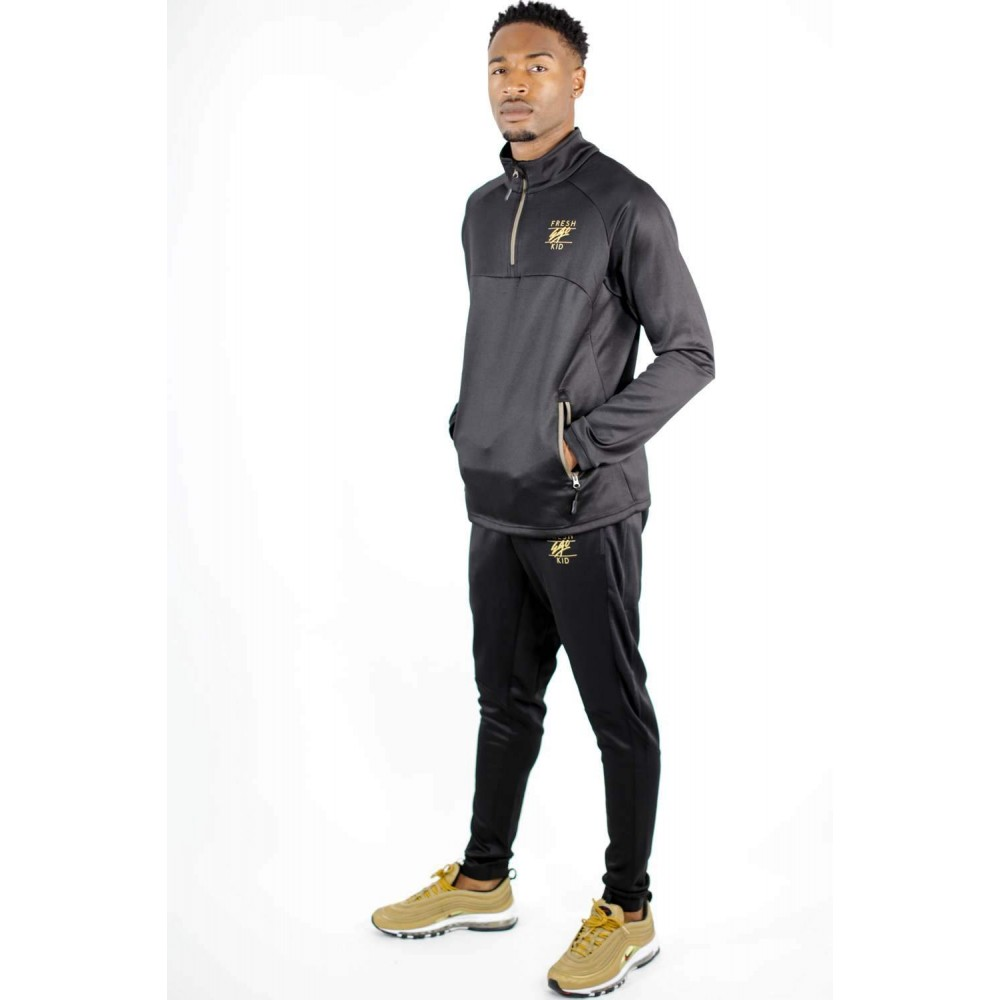 Fresh Ego Kid Half Zip Tracksuit Set - Black / Gold
