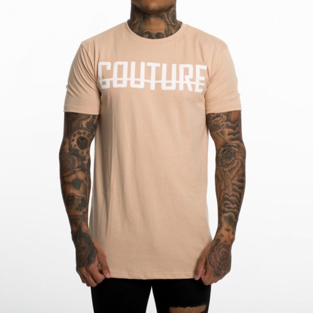 Fresh Couture Tan Large Logo Longline T-Shirt