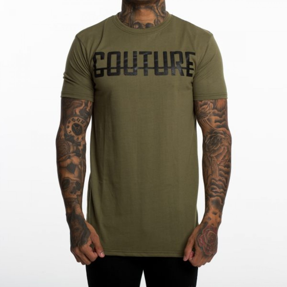 Fresh Couture Khaki Large Logo Longline T-Shirt
