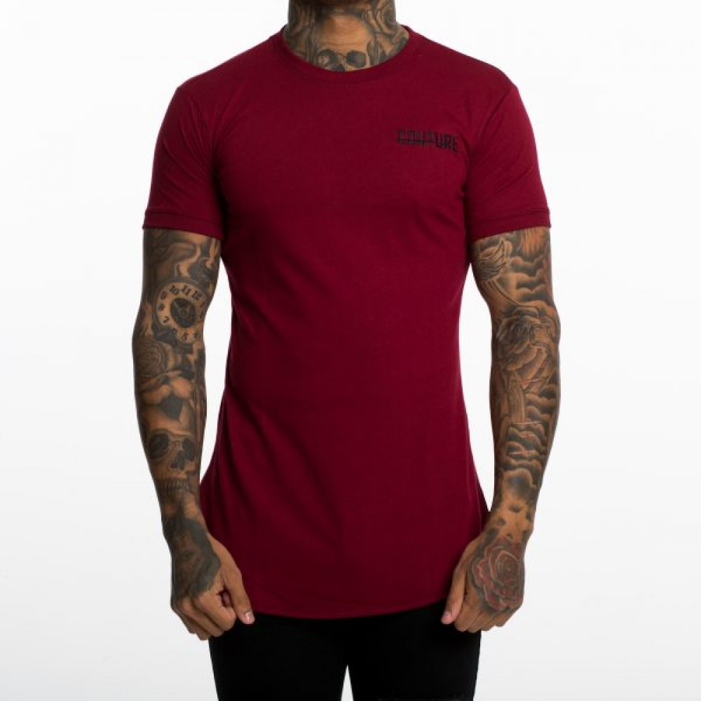 Fresh Couture Burgundy Small Logo Longline T-Shirt