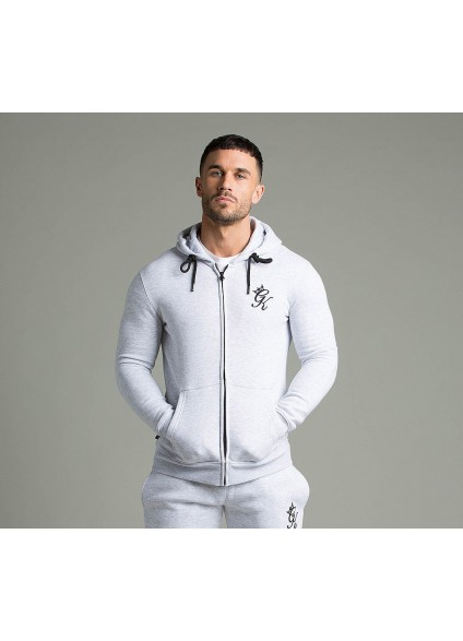 Gym King Zip Hooded Top - Snow Marl