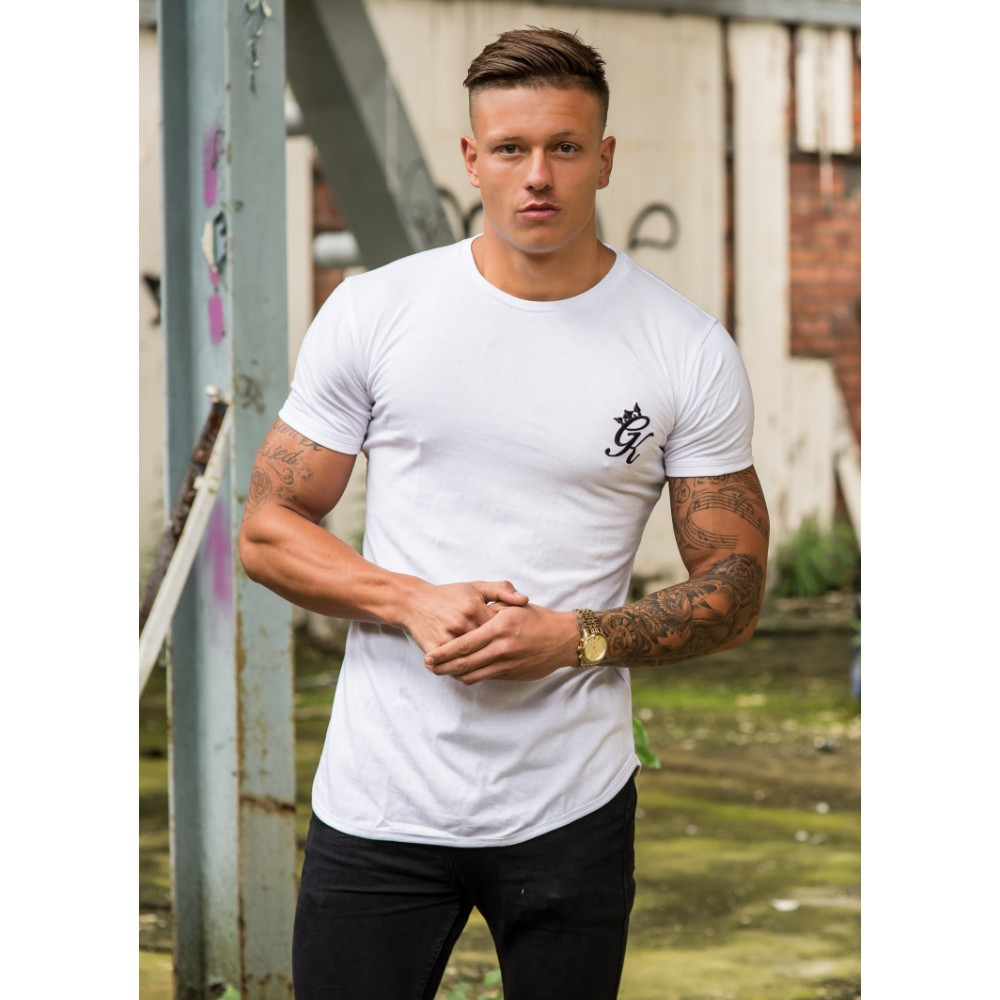 Gym King Fitted Long Line T-shirt - White