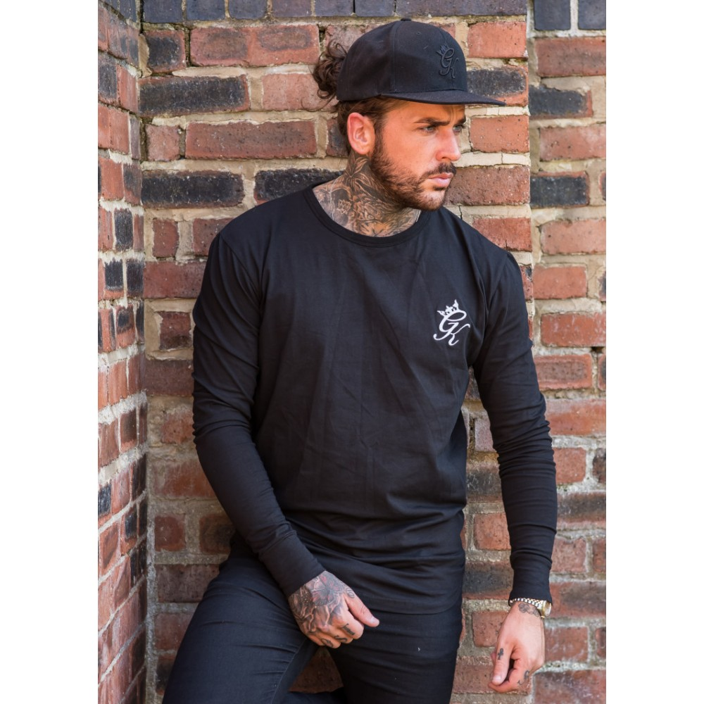 Gym King Long Sleeve Long Line T-Shirt - Black