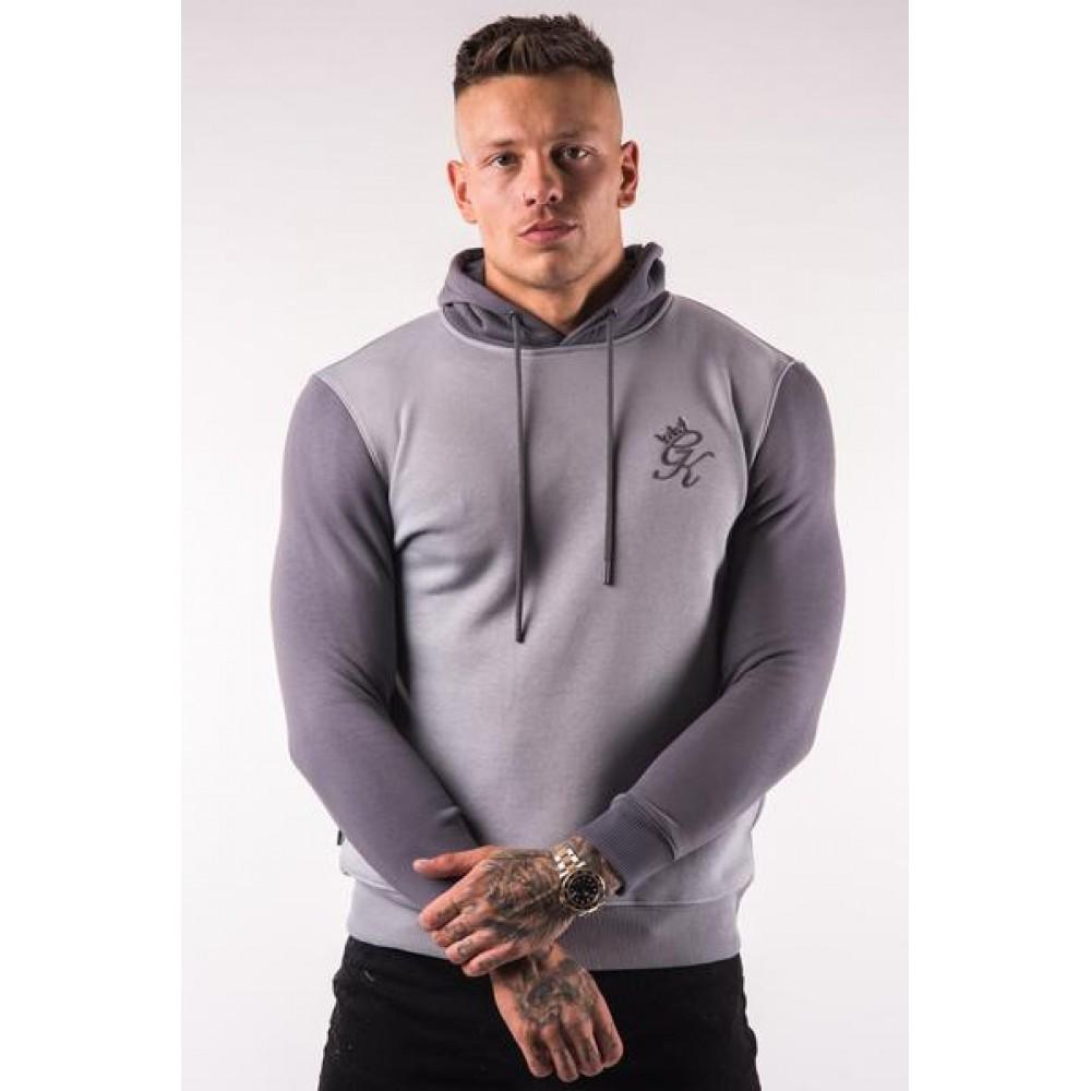 Gym King Avon Pullover Hoodie - Silver Grey/Dark Grey