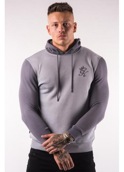 Gym King Avon Pullover Hoodie - Silver Grey/Dark Grey