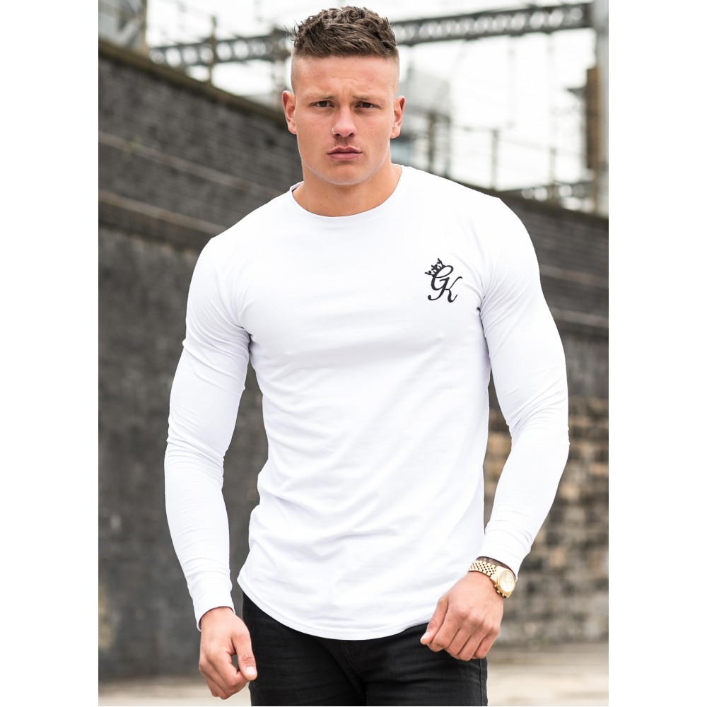 Gym King Long Sleeve Long Line T-Shirt  - White