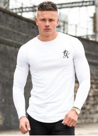 Gym King Long Sleeve Long Line T-Shirt  - White