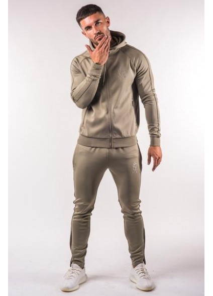 Gym King Tapered Poly Tracksuit Top - Light Khaki